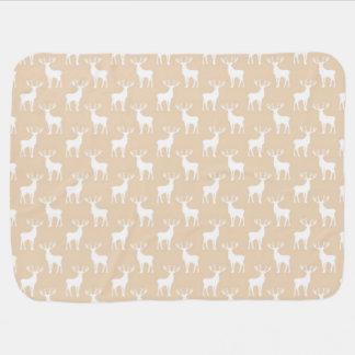 Cute Buck Deer Pattern in Brown and White Pramblankets