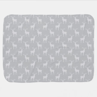 Cute Buck Deer Pattern in Grey Baby Blanket