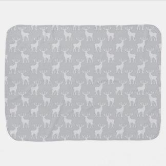 Cute Buck Deer Pattern in Grey Receiving Blanket