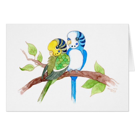 Cute budgies card