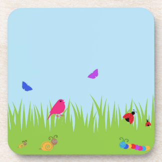 Cute bugs and bird in grass with blue sky coasters
