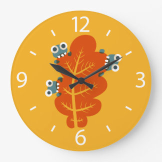 Cute Bugs Eat Autumn Leaf Large Clock