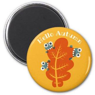 Cute Bugs Eat Orange Leaf Hello Autumn Magnet