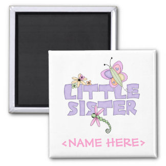 Cute Bugs Little Sister Square Magnet