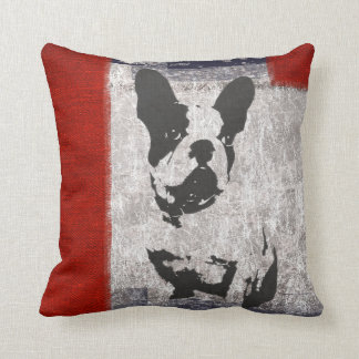 Cute Bull Dog on Grey & Red Grunge Pillow