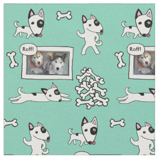 Cute Bull Terrier Cartoon Personalizealbe Fabric