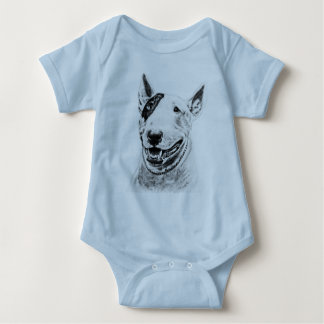 Cute Bull Terrier dog art Baby Bodysuit