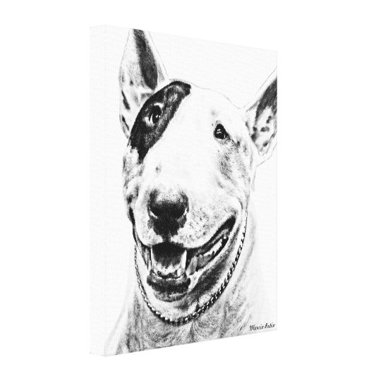 Cute Bull Terrier dog art Canvas Print