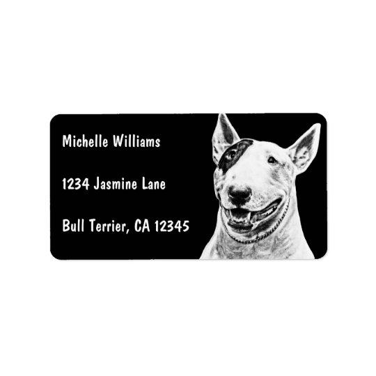 Cute Bull Terrier dog art Label