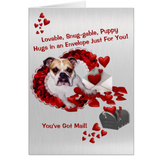Cute Bulldog Maddie Valentine - You've Got Mail! Card