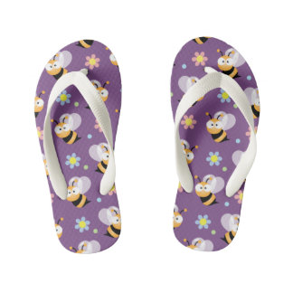 Cute Bumble Bee And Colorful Flower Pattern Kid's Flip Flops