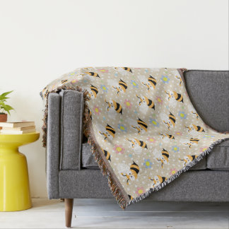 Cute Bumble Bee And Colorful Flower Pattern Throw Blanket