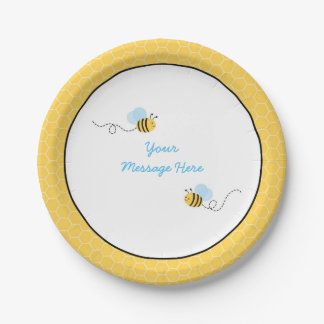 Cute Bumble Bee Baby Shower Paper Plate