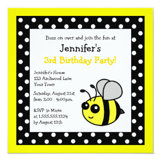Cute Bumble Bee Birthday Black & Yellow Polka Dots Card