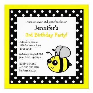 Cute Bumble Bee Birthday Black Yellow Polka Dots Personalized Invite