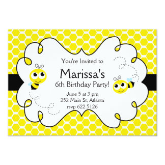 Cute Bumble Bee Birthday Invitation