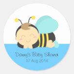 Cute Bumble Bee Boy Baby Shower Round Sticker
