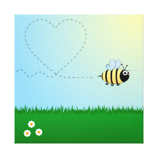 Cute bumble bee cartoon gallery wrapped canvas
