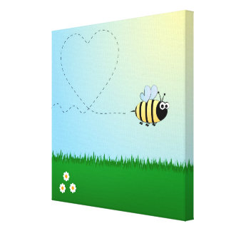 Cute bumble bee cartoon kids wrapped canvas