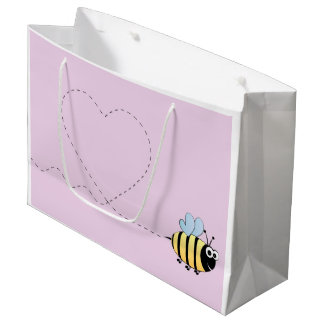 Cute bumble bee cartoon large gift bag