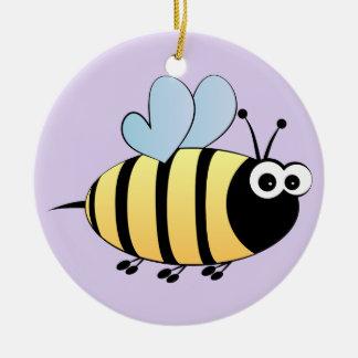 Cute bumble bee cartoon purple kids christmas ornament