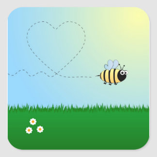 Cute bumble bee cartoon square sticker