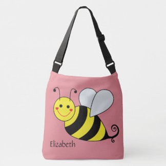 Cute Bumble Bee in Pink Personalized Crossbody Bag