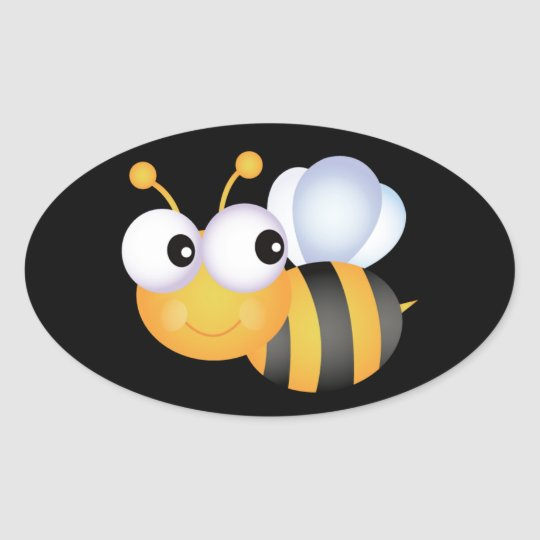 Cute Bumble Bee Oval Sticker