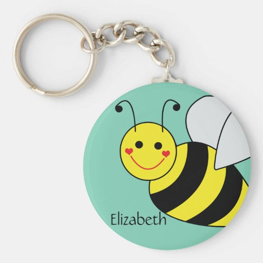 Cute Bumble Bee Personalised Key Ring