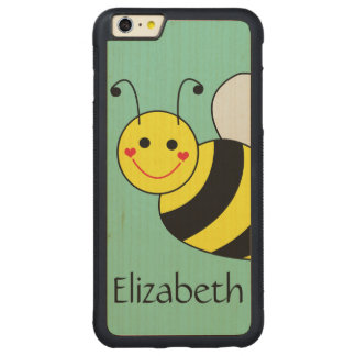 Cute Bumble Bee Personalized Carved Maple iPhone 6 Plus Bumper Case