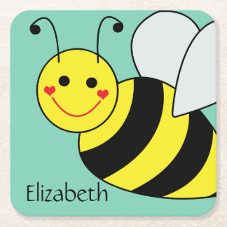 Cute Bumble Bee Personalized Square Paper Coaster