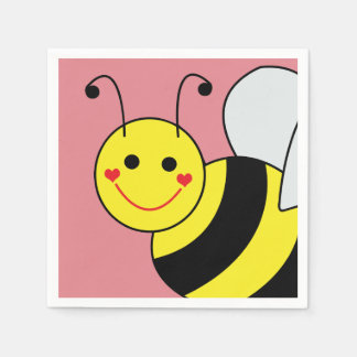 Cute Bumble Bee Pink Paper Serviettes