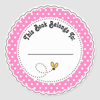 Cute Bumble Bee Reading Bookplates Round Sticker