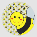 Cute Bumble Bee Round Stickers