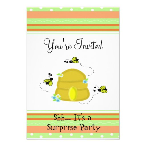 Cute Bumble Bee Surprise Party Invitation