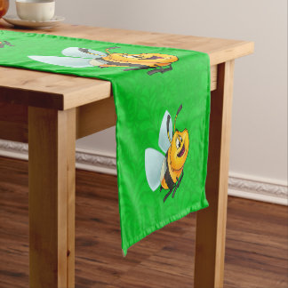 Cute bumble bee table runner green pattern