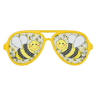 Cute Bumble Bee with Pattern Aviator Sunglasses