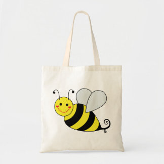 Cute Bumble Bee with Pattern Canvas Bags