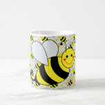 Cute Bumble Bee with Pattern Basic White Mug