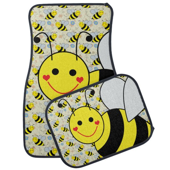 Cute Bumble Bee with Pattern Car Mat