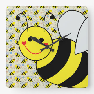 Cute Bumble Bee with Pattern Wallclocks
