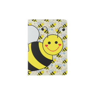 Cute Bumble Bee with Pattern Passport Holder