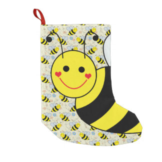 Cute Bumble Bee with Pattern Small Christmas Stocking