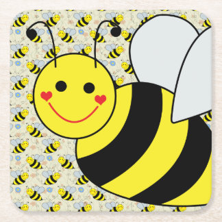 Cute Bumble Bee with Pattern Square Paper Coaster