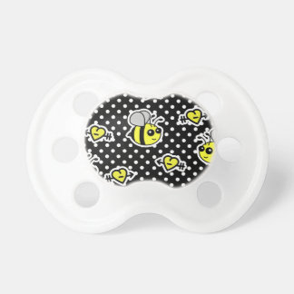 Cute Bumble Bee Yellow and Black Polka Dot Baby Pacifiers