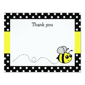 Cute Bumble Bee Yellow Flat Thank You Note Cards