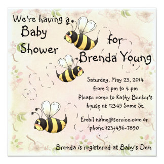 Cute Bumble Bees Flower Country Shower 13 Cm X 13 Cm Square Invitation Card