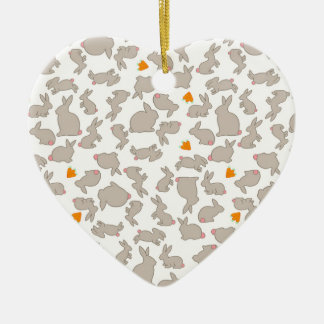 Cute Bunnies and Carrots Pattern Ceramic Heart Decoration