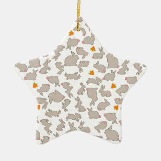 Cute Bunnies and Carrots Pattern Ceramic Star Decoration
