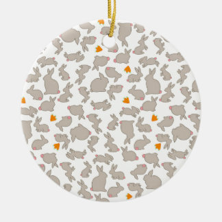 Cute Bunnies and Carrots Pattern Round Ceramic Decoration